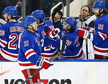 Derek Stepan scores 2:37 into the first period as the Rangers cruise to a 4-0 win over New Jersey in the regular-season finale. (USATSI)