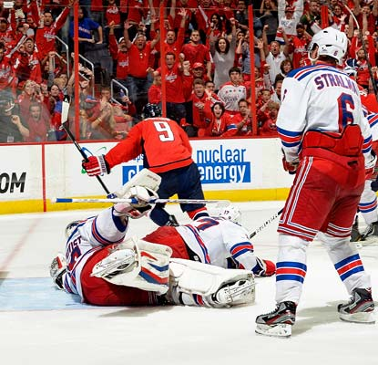 The crowd goes wild after Mike Ribeiro wins Game 5 for the Capitals just over nine minutes into overtime.  (Getty Images)