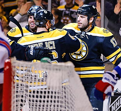 Milan Lucic is congratulated after scoring the final goal in the third period.  (Getty Images)