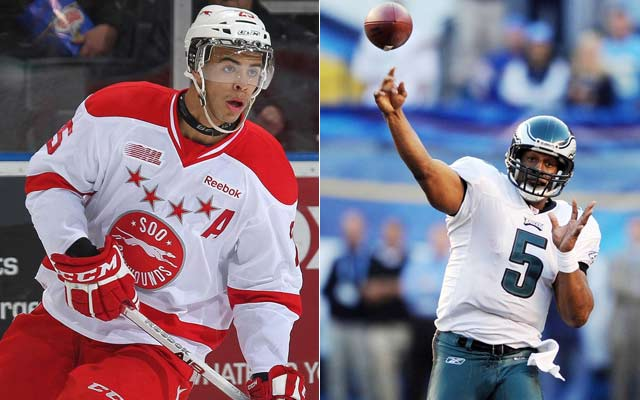 Top hockey prospect Darnell Nurse (left) learned a lot from famous uncle Donovan McNabb. (Getty Images)