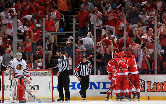 The Detroit Red Wings celebrate a goal on Monday night (USATSI)