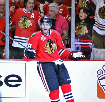 The Blackhawks' Patrick Kane has scored seven goals in seven games, including two in Game 5 against the Bruins.  (USATSI)