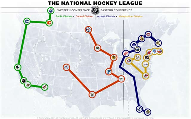 New NHL realignment with the Pacific, Central, Metropolitan and Atlantic Divisions. (Tomfulery.com)