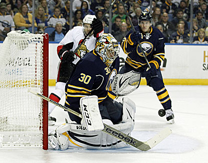 Buffalo goalie Ryan Miller makes 45 stops but is the tough-luck loser in a 1-0 decision to Ottawa. (USATSI)