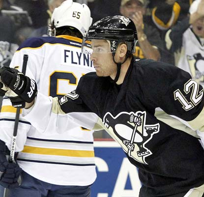 Chuck Kobasew celebrates his second goal on the very young season as the Penguins open 2-0 for the third straight season.  (USATSI)