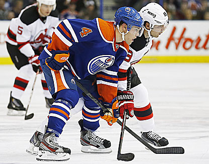 Edmonton's Taylor Hall notches a goal as the Oilers erase a big deficit to defeat the Devils. (USATSI)