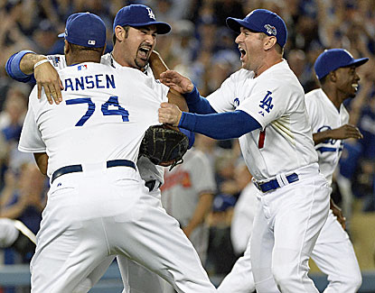 Kenley Jansen gets the save as the Dodgers punch their ticket to the NLCS with a win over the Braves. (USATSI)