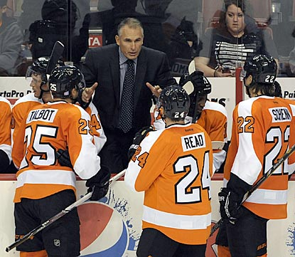 Craig Berube talks his the Flyers through a tight third period and winds up with a victory in his NHL head coaching debut.  (USATSI)