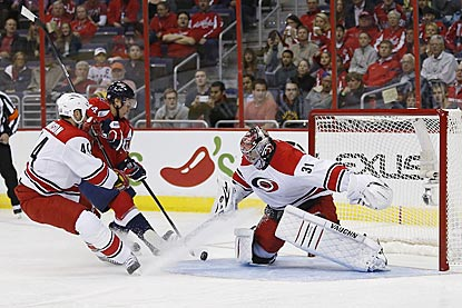 Hurricanes goalie Anton Khudobin makes a save on Capitals right wing Tom Wilson during the first period.  (USATSI)