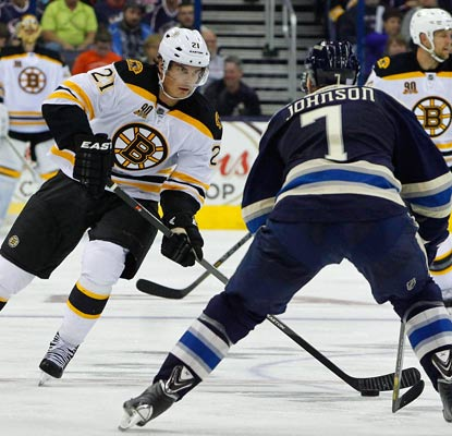 Loui Eriksson, acquired in an offseason trade from Dallas, scores his first goal for the Bruins in a 3-1 win.  (USATSI)