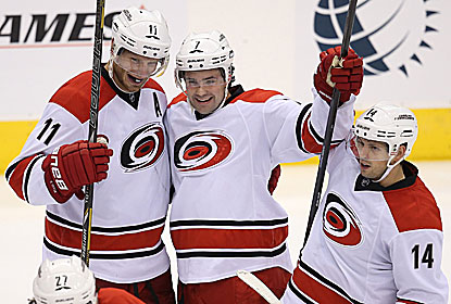 The Hurricanes get all their goals in the third, including a controversial one by Ron Hainsey that caps the comeback. (USATSI)