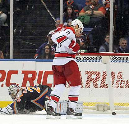 Jordan Staal, who scores his first goal of the season, puts the Hurricanes on the board in the first period. (USATSI)