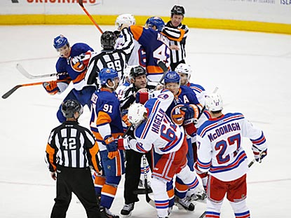 It's just not a Rangers-Islanders game without a scrap or two. This tussle happens during the third period.  (USATSI)