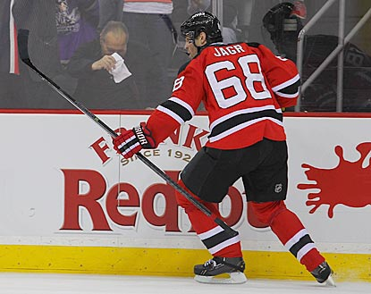 Jaromir Jagr celebrates his 684th NHL goal, which gives the Devils a 2-0 lead in the second period.  (USATSI)