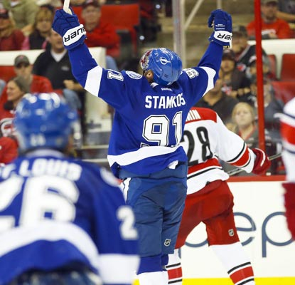 Steven Stamkos scores an insurance goal as the Lightning kick off November with a shutout victory.  (USATSI)