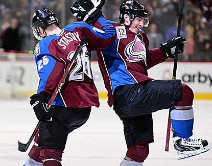 Avalanche centers Paul Stastny and center Matt Duchene celebrate Colorado's win, its 12th of the season. (USATSI)