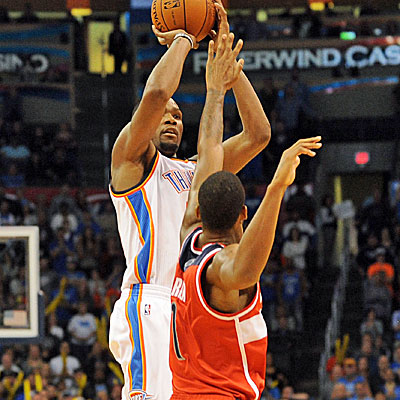 Oklahoma City's Kevin Durant knocks down the game-tying 3 in regulation, and then leads the Thunder in overtime.  (USATSI)
