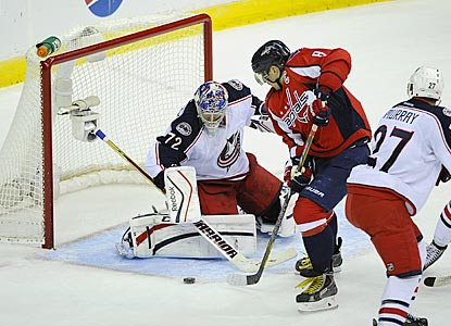 Alex Ovechkin prepares to pounce on a rebound and put the puck past Sergei Bobrovsky for the winning goal.  (USATSI)