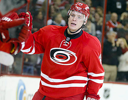 Carolina's Alexander Semin scores in the second period, and the Hurricanes go on to defeat Anaheim in a shootout. (USATSI)