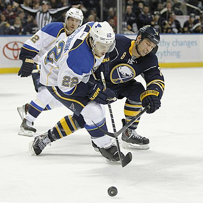 St. Louis defenseman Kevin Shattenkirk (22) and Buffalo center Cody McCormick battle for a loose puck during the second period. (USATSI)