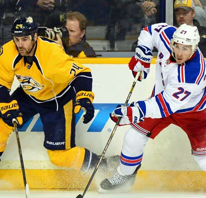 New York's Ryan McDonagh scores one of the Rangers' two goals in a 2-0 victory at Nashville.  (USATSI)