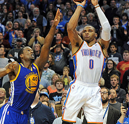 Russell Westbrook (34 points) sinks the winning shot for Oklahoma City with 0.1 seconds left in the game.  (USATSI)