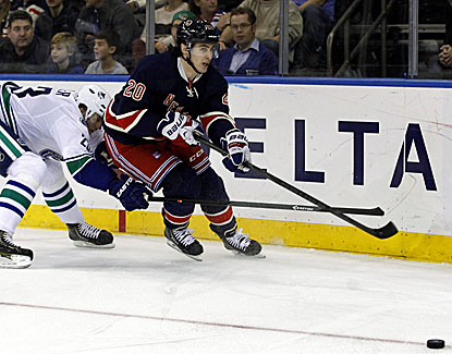 New York Rangers left wing Rick Kreider works for one of his three goals against the Vancouver Canucks. (USATSI)