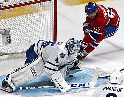 Max Pacioretty scores one of his two goals for the Canadiens against Maple Leafs goalie Jonathan Bernier. (USATSI)