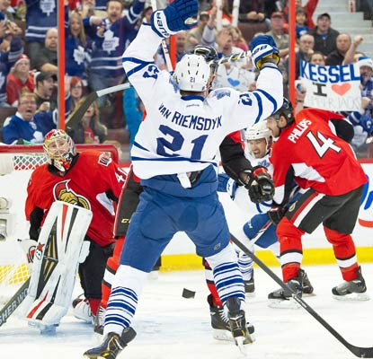James Van Riemsdyk scores in regulation and adds one in the shootout to help the Leafs win in Ottawa.  (USATSI)