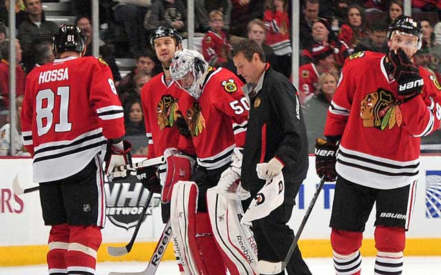 Crawford had to leave Sunday's game with some help. (Getty Images)