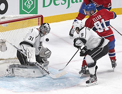 Martin Jones, shown making a save against Lars Eller in the first period, improves to 3-0 in his NHL career with two shutouts.  (USATSI)