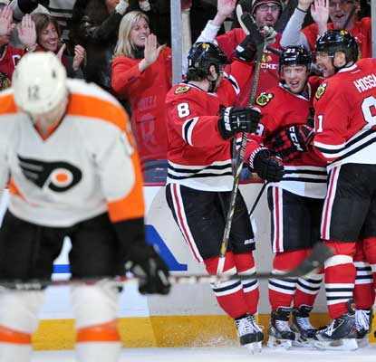 It's a long night for the Flyers as the Blackhawks score a season-high seven goals, giving them an NHL-best 129 so far.  (USATSI)