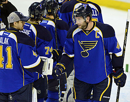 David Backes earns the congratulations of his fellow Blues, scoring the first and last goals of the game. (USATSI)