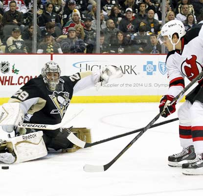 Goalie Marc Andre-Fleury makes a 3-0 lead after the first period hold up for the Penguins.  (USATSI)
