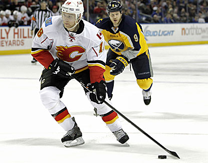 Matt Stajan scores 42 seconds into overtime, giving Calgary its first win at Buffalo after losing eight straight games. (USATSI)