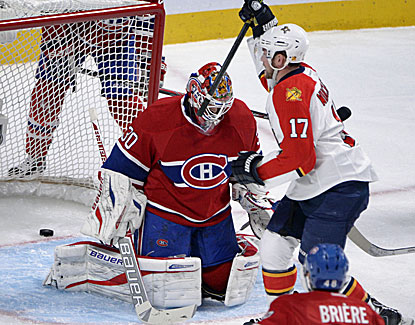 Florida's Jesse Winchester gets one past Habs goalie Peter Budaj as the Panthers win their third straight. (USATSI)