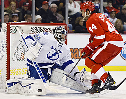 Lightning goalie Ben Bishop stuffs Todd Bertuzzi for one of his 28 saves. (USATSI)