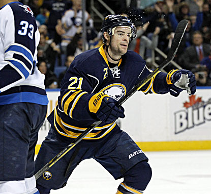 Buffalo's Drew Stafford celebrates after Steve Ott scores during the second period against the Jets. (USATSI)