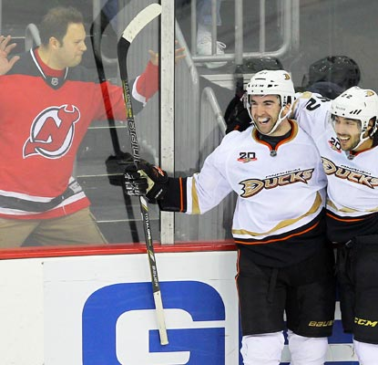 Kyle Palmieri ends the game in overtime for the red-hot Ducks and this Devils fan is not happy about it.  (USATSI)