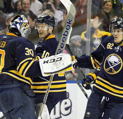 Ryan Miller stops 49 of 50 shots in regulation and adds another six in the shootout to carry the Sabres.  (USATSI)