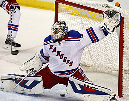Rangers goalie Henrik Lundqvist allows this one to get through in regulation but blanks the Panthers in a shootout. (USATSI)