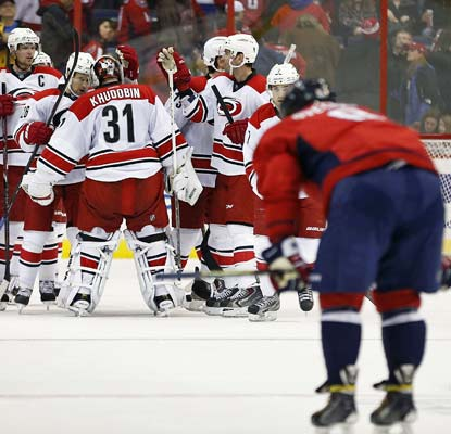 The Hurricanes deal the Capitals a tough beat in overtime to cap a topsy-turvy affair in Washington, DC.  (USATSI)