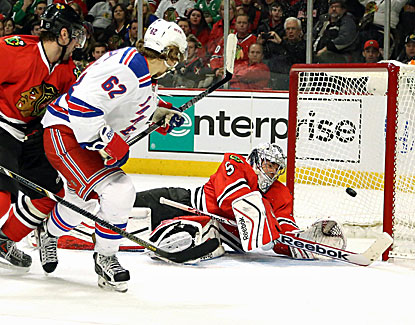 New York's Carl Hagelin beats Chicago with his fourth winning goal of the season, tops on the team. (USATSI)