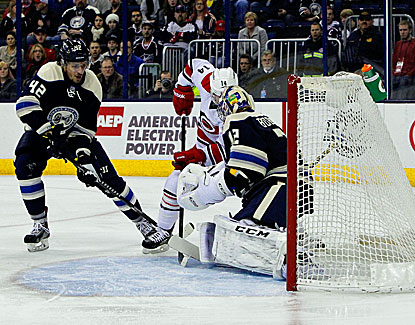 Sergei Bobrovsky makes one of his 36 saves as the Blue Jackets blank Carolina 3-0. (USATSI)
