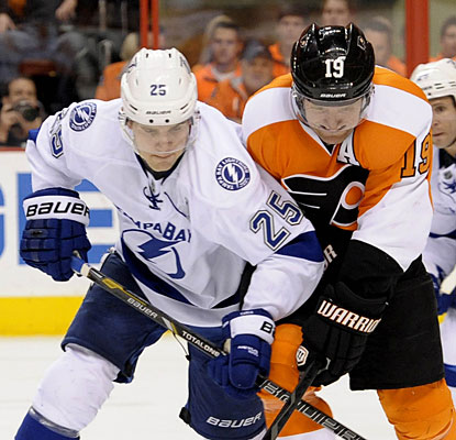 Former Flyer Matt Carle contributes two assists and is on the ice for each of the Lightning's six goals.  (USATSI)