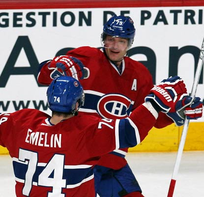 Montreal's Andrei Markov beats the Blackhawks with his goal at 1:28 of overtime, his second tally of the game.  (USATSI)
