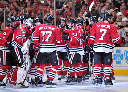 As they did last June, the Blackhawks wind up celebrating at the Bruins' expense.  (USATSI)