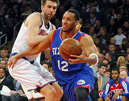Philly's Evan Turner scores a career-high 34 points and grabs 11 rebounds against the struggling Knicks. (USATSI)