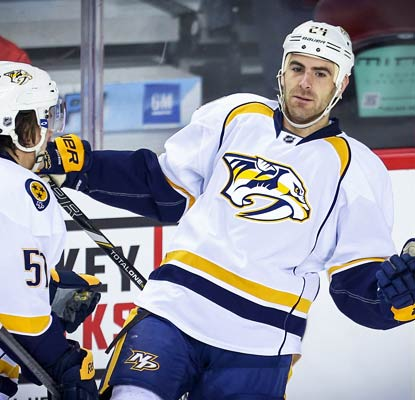 Nashville's Eric Nystrom, who scored once in his previous 19 games, tallies four goals against the Flames.  (USATSI)