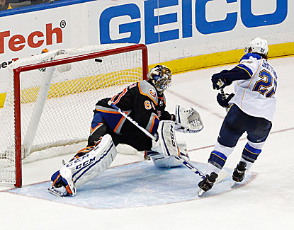 Kevin Shattenkirk gets one past Isles goalie Kevin Poulin in the Blues' controversial shootout win over New York. (USATSI)